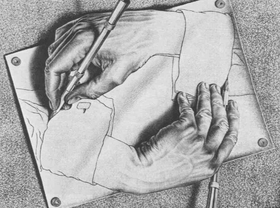 MC Escher drawing with hands drawing