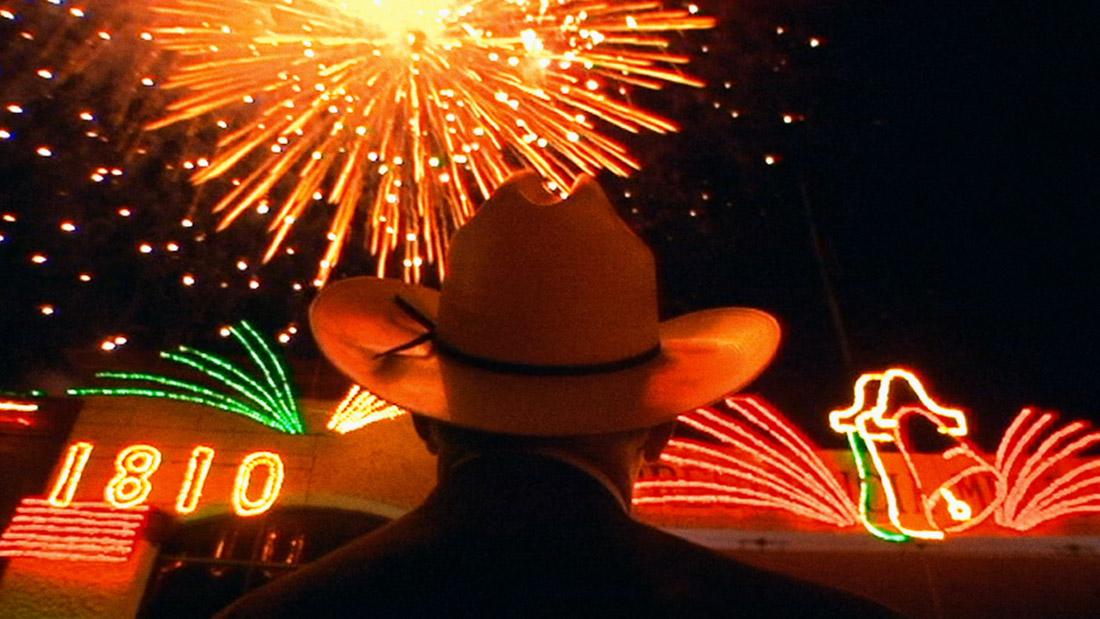 Man looking at firework