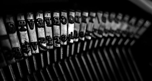 Typewriter letters close up