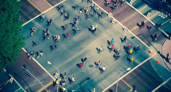 Overhead view of people on bikes